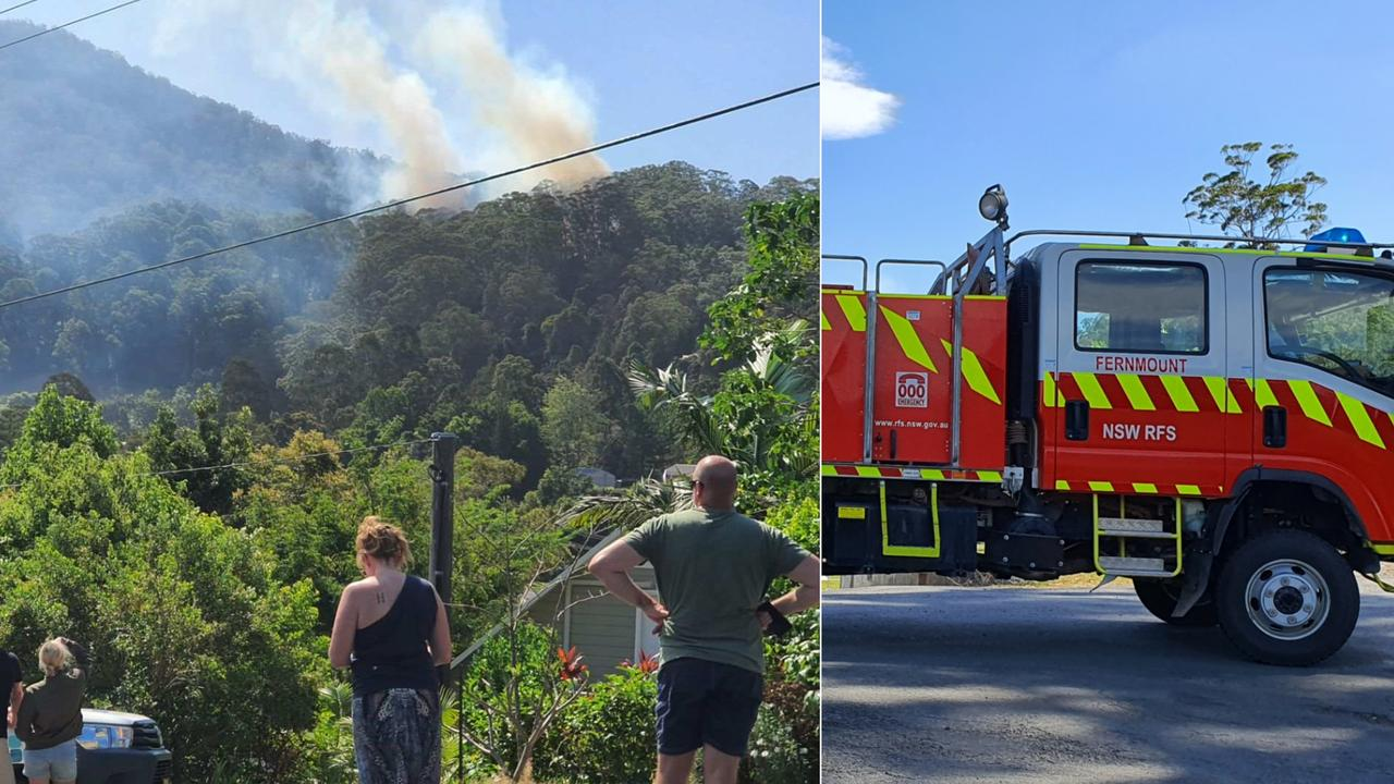 Firefighters are working to contain a bushfire at Boambee.