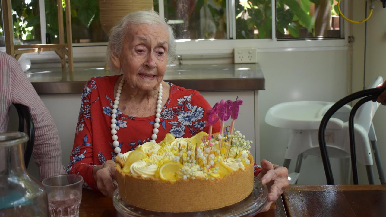 FIGHTING FIT: Ettie Hall celebrating her 105th birthday at Gardens Galore with family.