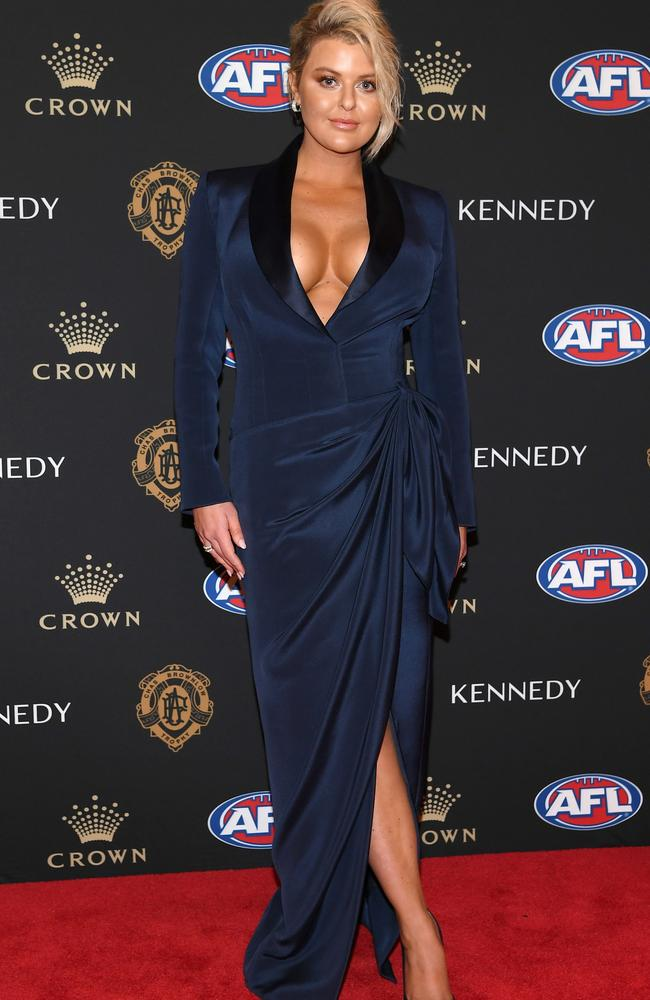 MELBOURNE, AUSTRALIA – SEPTEMBER 23: Emma Hawkins the wife of Tom Hawkins of the Cats arrives ahead of the 2019 Brownlow Medal at Crown Palladium on September 23, 2019 in Melbourne, Australia. (Photo by Quinn Rooney/Getty Images)