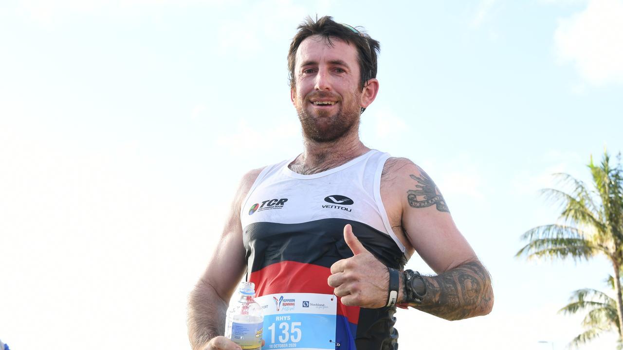 Rhys Williams, first to finish today's half marathon.