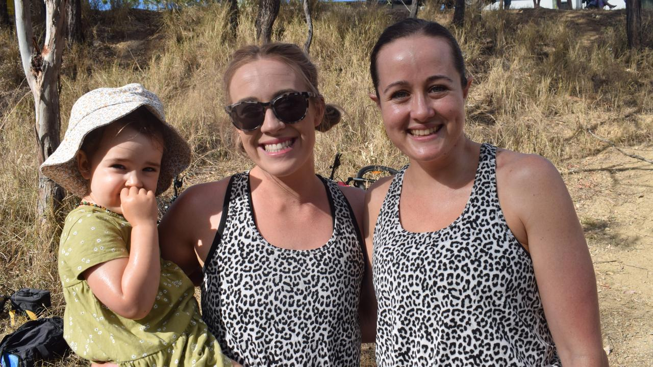 Luella Frizzo, 2, Karly Mafrici and Jessica Frizzo at the Lake Awoonga Adventure Race 2020.