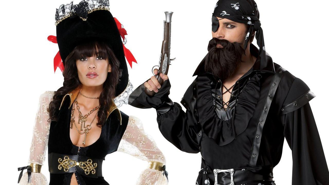 Women's Caribbean Couture Pirate Costume & Men's Plundering Pirate Costume Picture: Shop Fortune