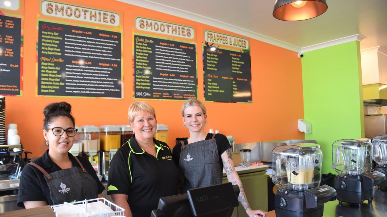 Kiahnee Eggmolesse, Sandra Rowcliffe and Lauren Stevens on the opening day of the North Rockhampton store. Picture: Vanessa Jarrett