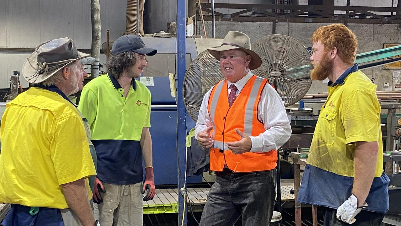 LNP candidate for Maryborough Denis Chapman was at DTM Timber last week.