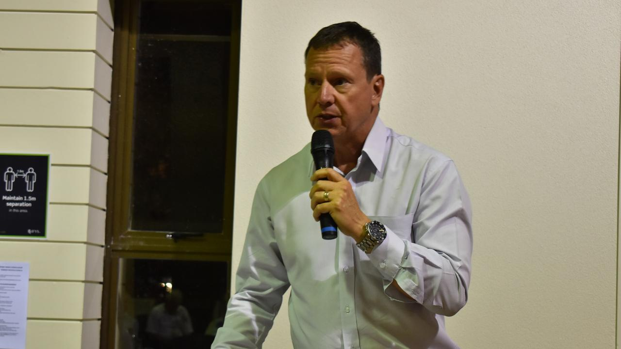 One Nation candidate Frank Weijers answers crowd questions at OSCAR's meet the candidates forum. Picture: Laura Pettigrew