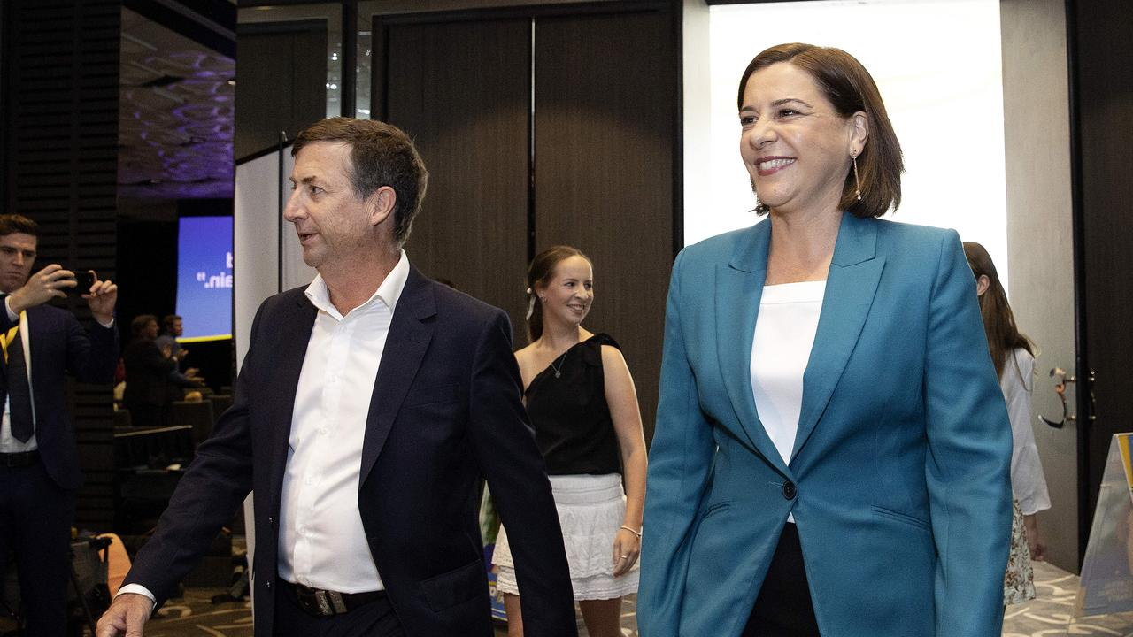 LNP Leader Deb Frecklington with husband Jason at the official launch of the LNP state election campaign. NCA NewsWire / Sarah Marshall
