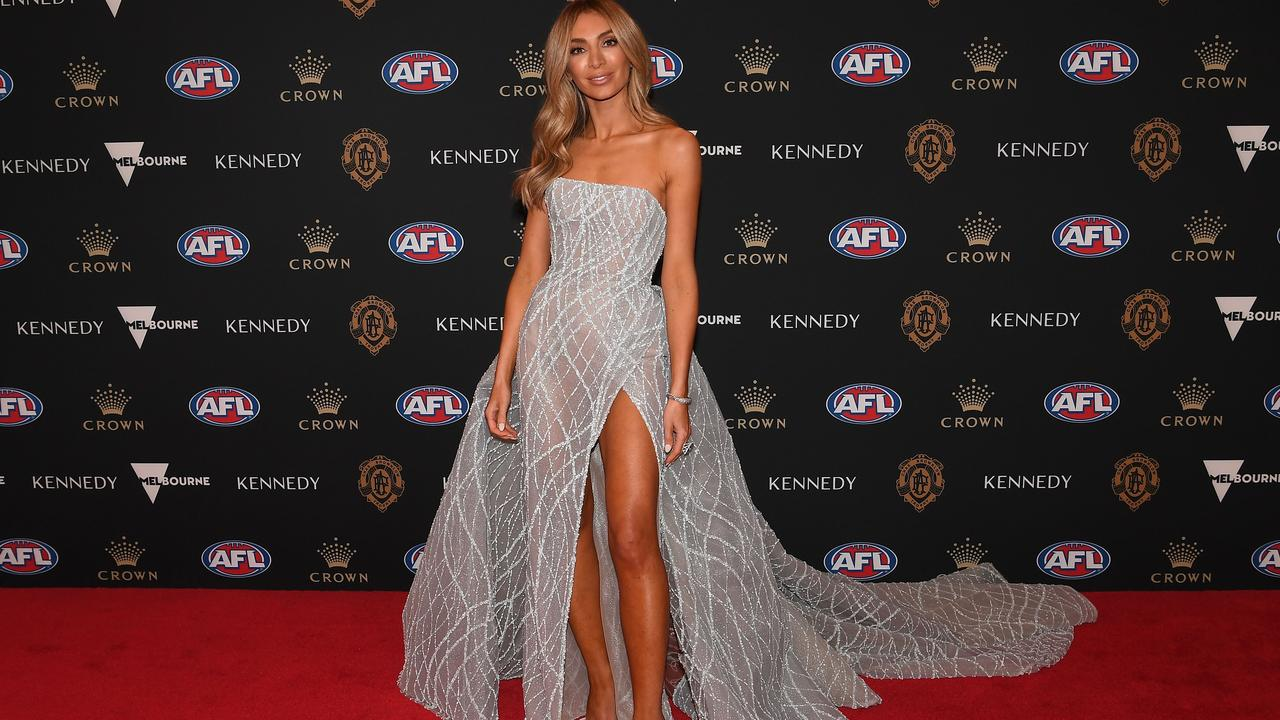 Nadia Bartel arrives at the 2019 Brownlow Medal ceremony at the Crown Palladium in Melbourne in Melbourne, Monday, September 23, 2019. (AAP Image/Julian Smith) NO ARCHIVING
