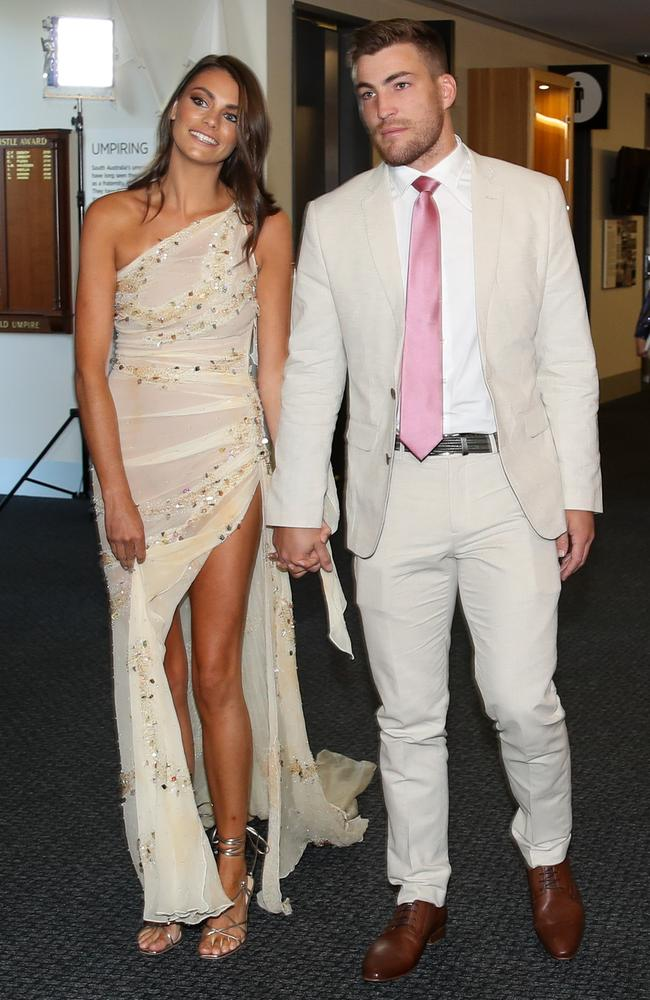 Jack and Charlotte Viney arrive to attend the count virtually from the Adelaide Oval. Picture: Getty