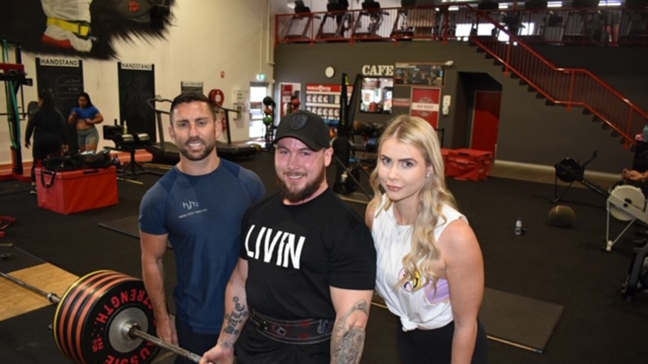 Event organiser Sam Johnson, with friend Bradley Hale and Trent Dance's partner Samara Thorpe, who are getting behind a fundraiser for mental health following the death of Trent Dance.