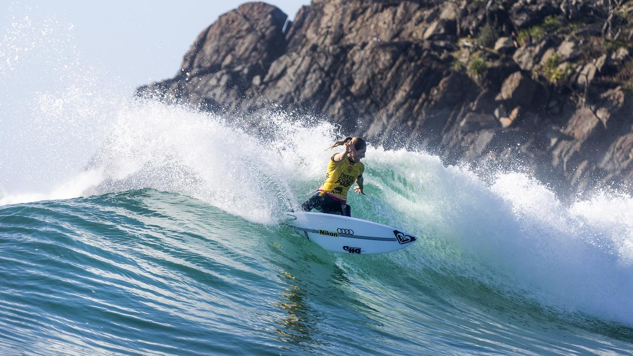 Seven-time WSL Champion Stephanie Gilmore of Australia winning quarterfinal heat 2 of the Tweed Heads Pro to advance to the semi-finals on September 14, 2020 in Tweed Heads South, Australia. Picture: Matt Dunbar/World Surf League via Getty Images.