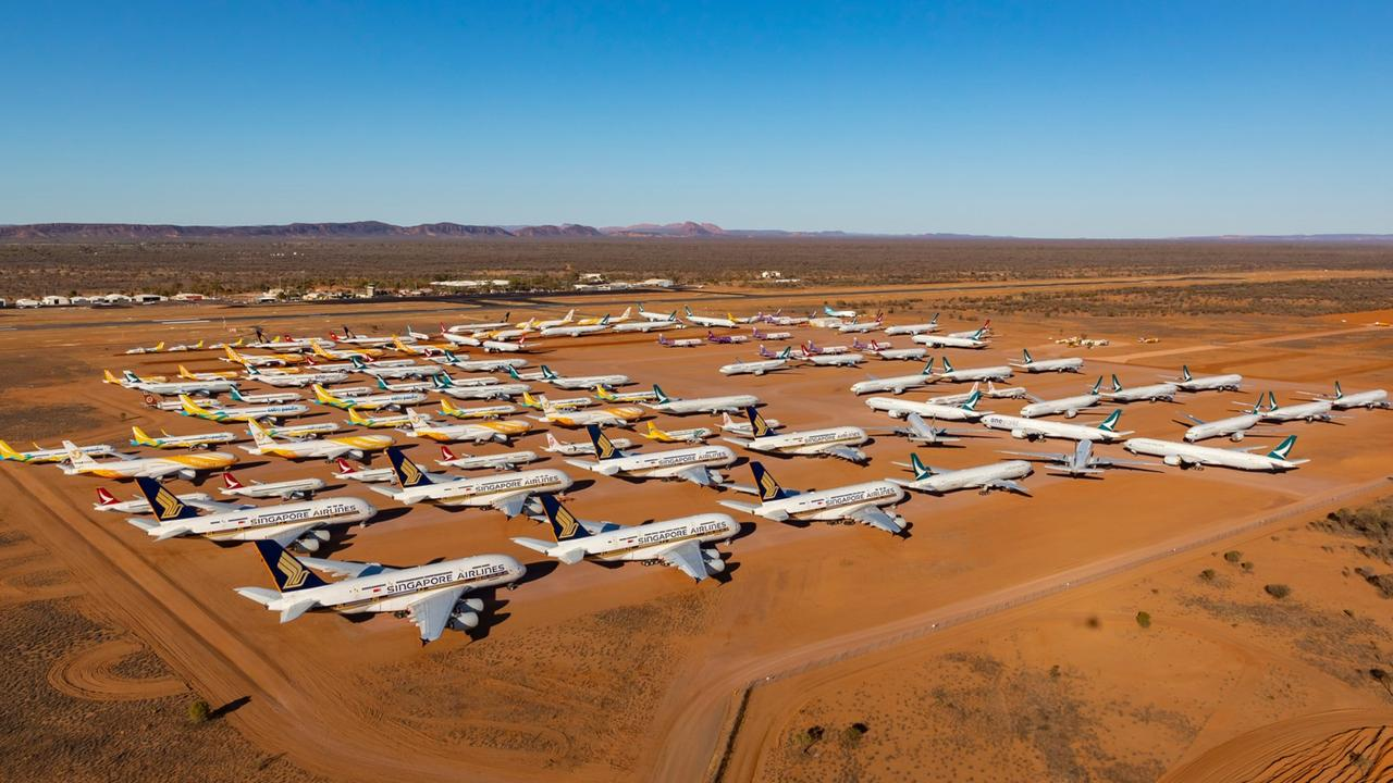 The plane storage facility near Alice Springs. Picture: Seth Jaworski