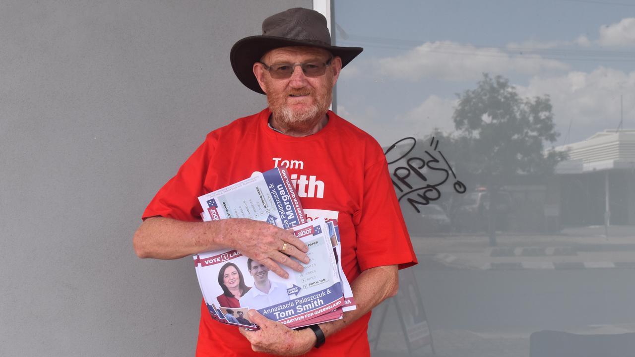 Labor volunteer Greg Hills handing out in Bundaberg.