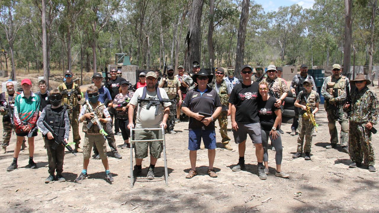 Gel Blasters participants with LNP candidate for Gladstone Ron Harding at the CQ Blasters field at Burua. Picture Rodney Stevens