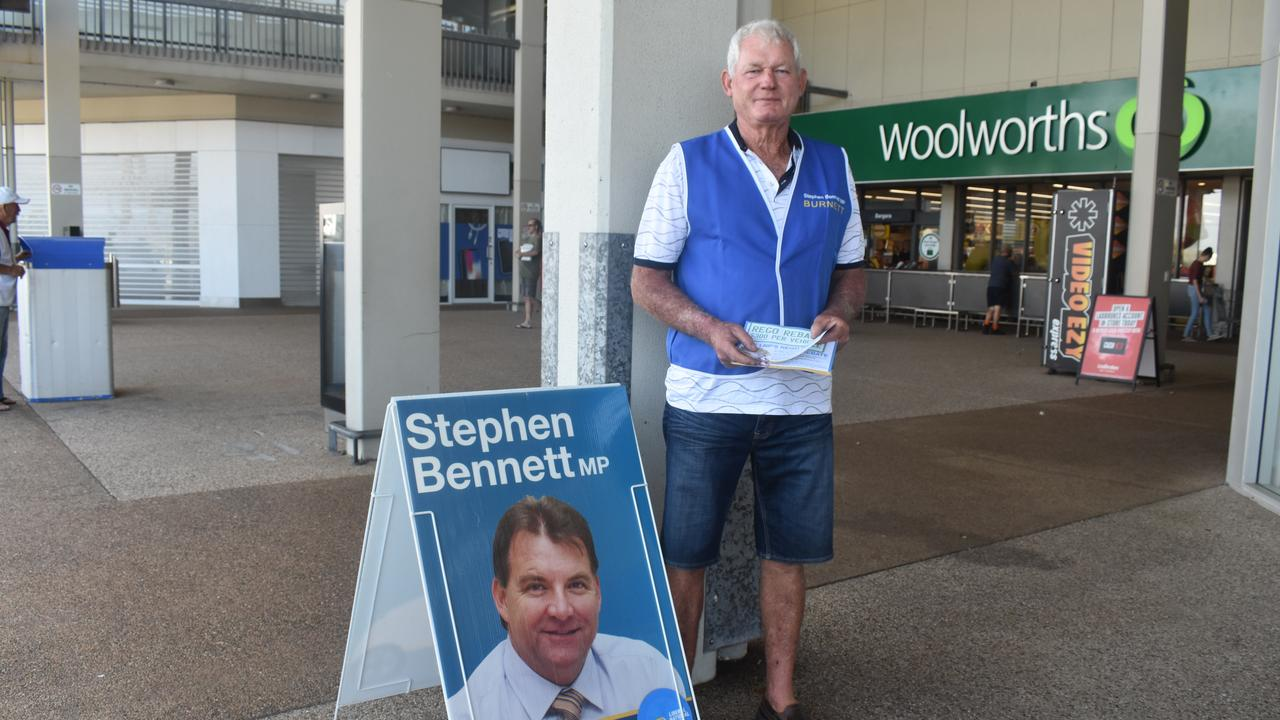 Handing out for LNP incumbent Stephen Bennett at Bargara is Don Smith.