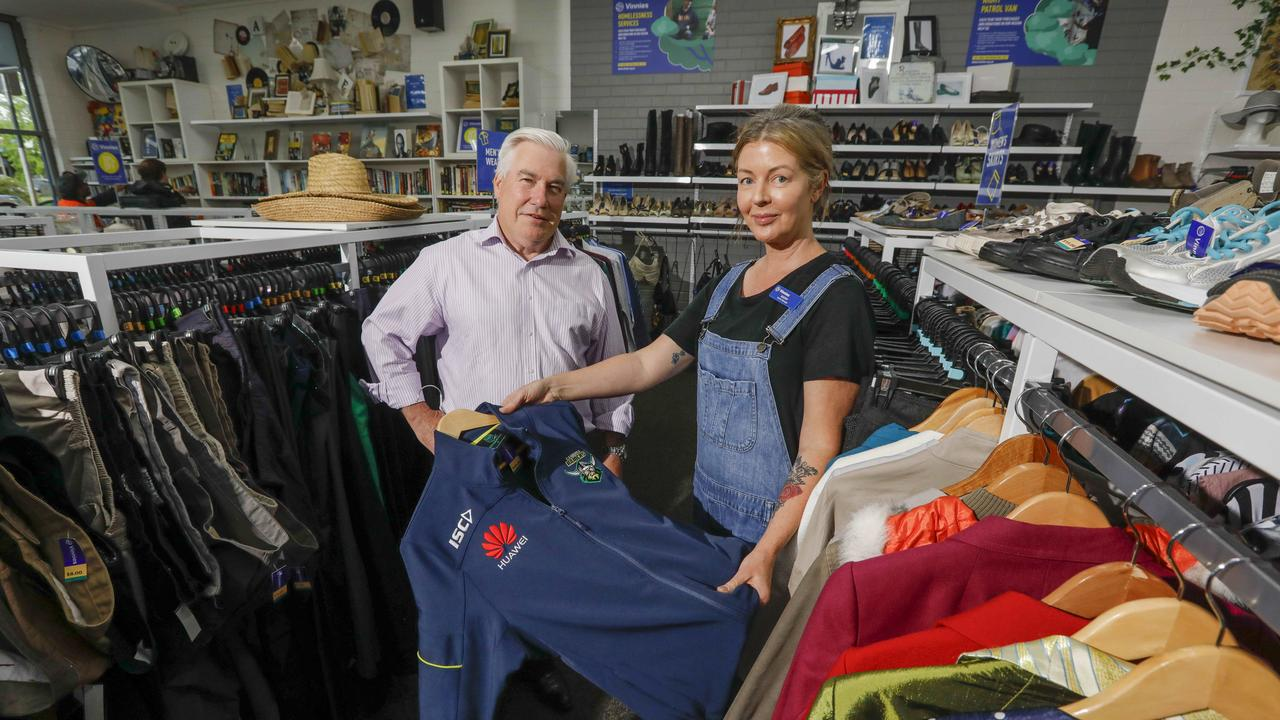Vinnies CEO Toby oConnor and Vinnies centre manager Kathy Morris in the Vinnies store in Phillip, ACT. Picture by Sean Davey.