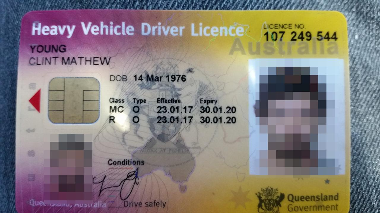 The fake driver's licence used by the scammer who goes by Clint Young. Picture: Supplied
