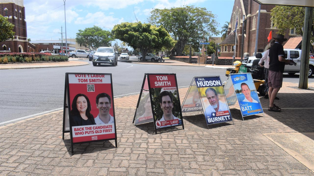 POLLS OPEN: A display of corflutes on the corner of Maryborough St.