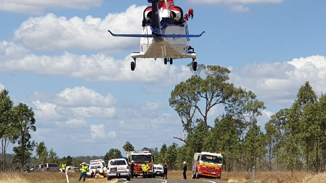 The scene of a serious head-on crash on the Wide Bay Highway at Lower Wonga on Wednesday.