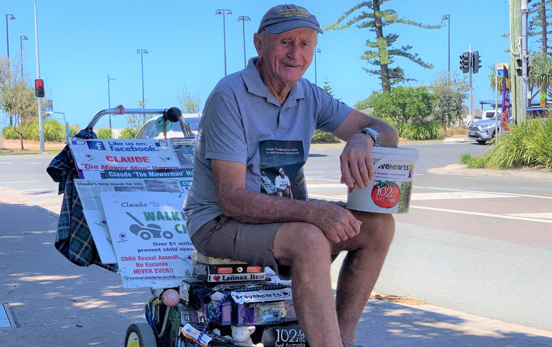 Claude 'The Mower Man' Harvey has raised over $1.56 million for child sexual assault organisation Bravehearts by walking his mower through every state and territory of Australia.