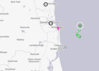 The ship is currently off the Sunshine Coast.