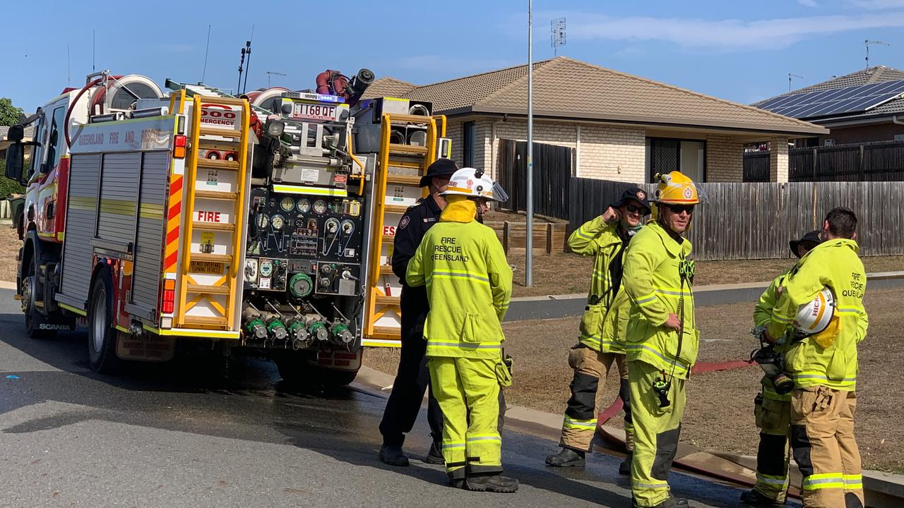 Multiple crews attend a fire which threatened Gracemere properties this afternoon.