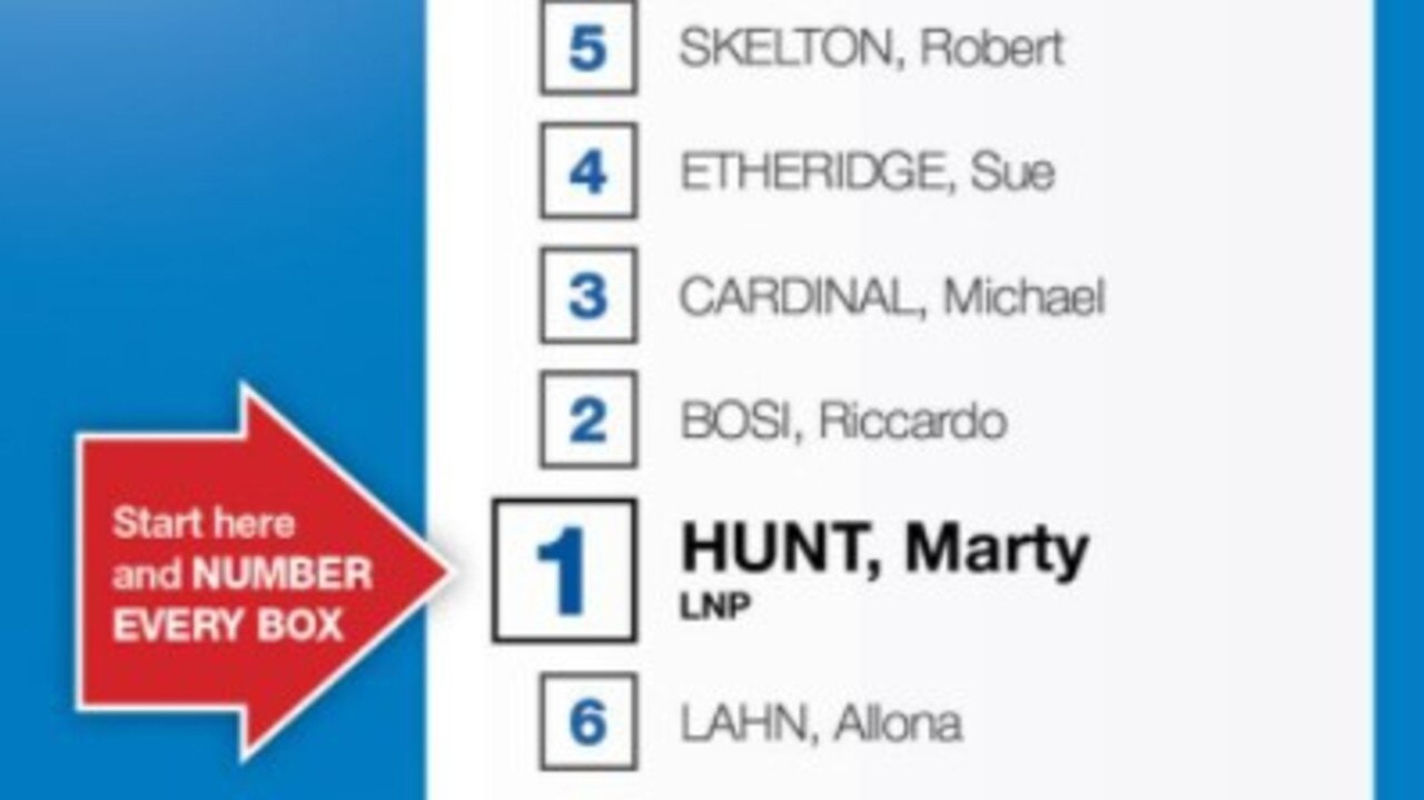 LNP candidate for Nicklin Marty Hunt's original how to vote card.