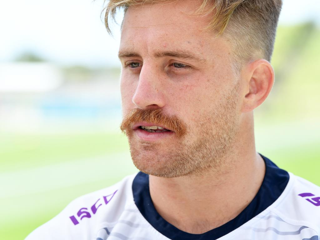 Cameron Munster talking to media at Sunshine Coast Stadium in the build up to the NRL grand final. Photo: Patrick Woods