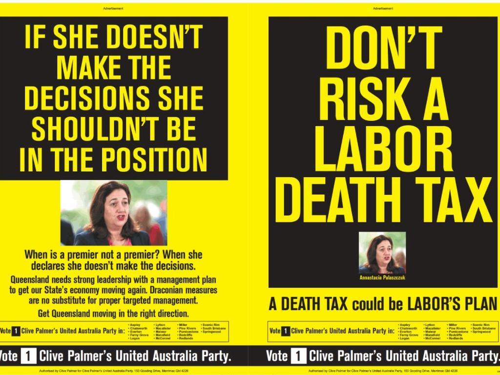 Clive Palmer's United Australia Party's most recent double page ad spread in the Courier Mail on Monday, October 19.
