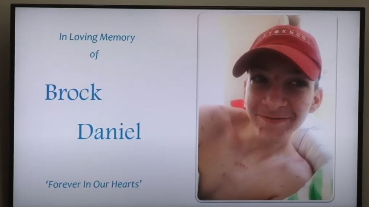 Brock Daniel's funeral in Bundaberg was live streamed for friends and family who couldn't attend. Picture: YouTube.