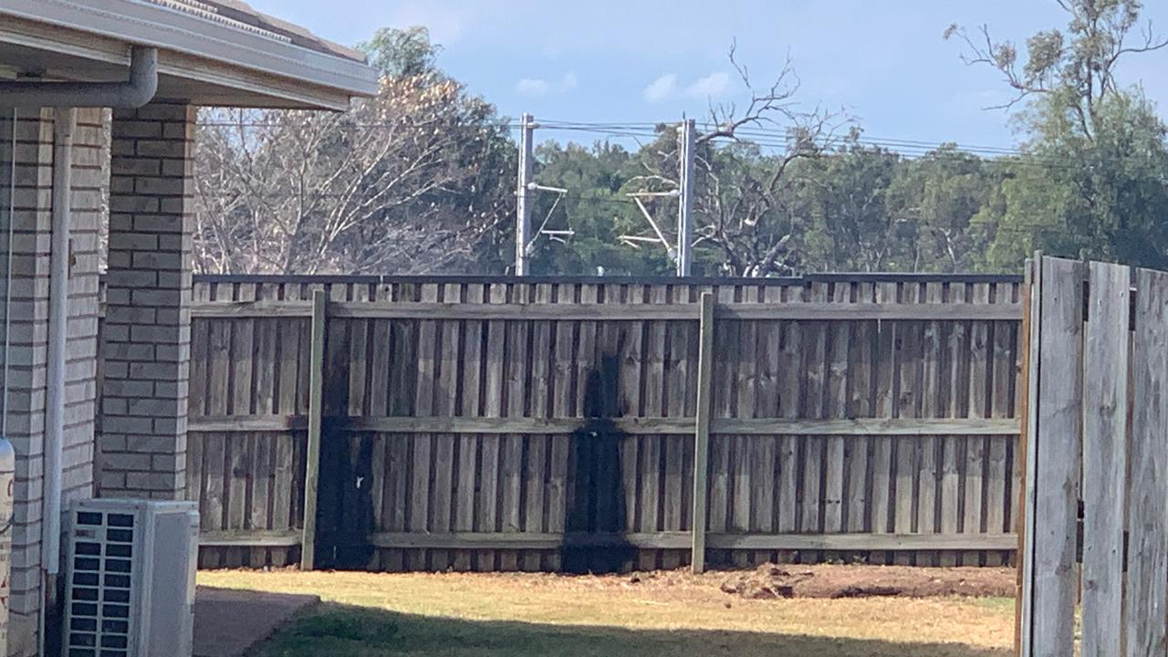 Part of a fence at Leichhardt Dr which caught alight this afternoon.