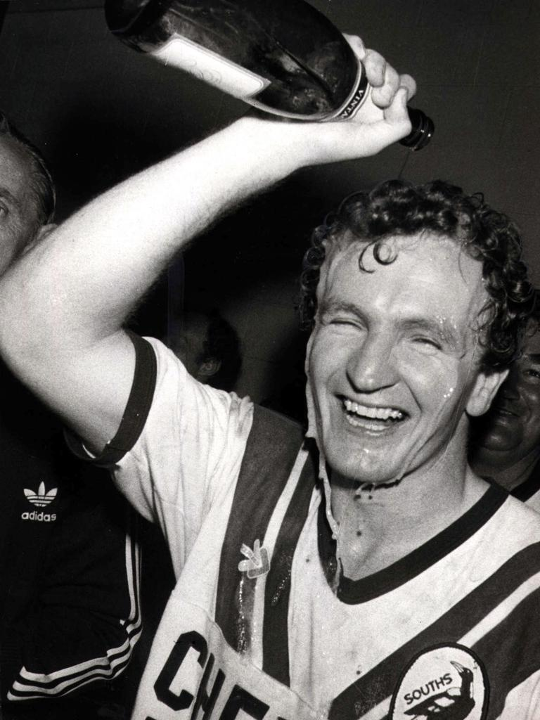 Souths winger Mick Reardon douses himself in champagne after scoring the matchwinning try 30 seconds from full-time in 1981.
