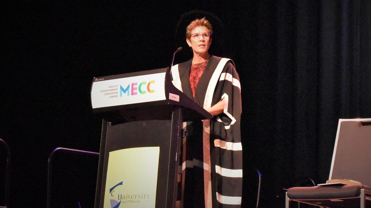 CQUniversity Australia Vice-president, Academic Professor Helen Huntly at the graduation ceremony at the MECC, Tuesday, October 20, 2020.