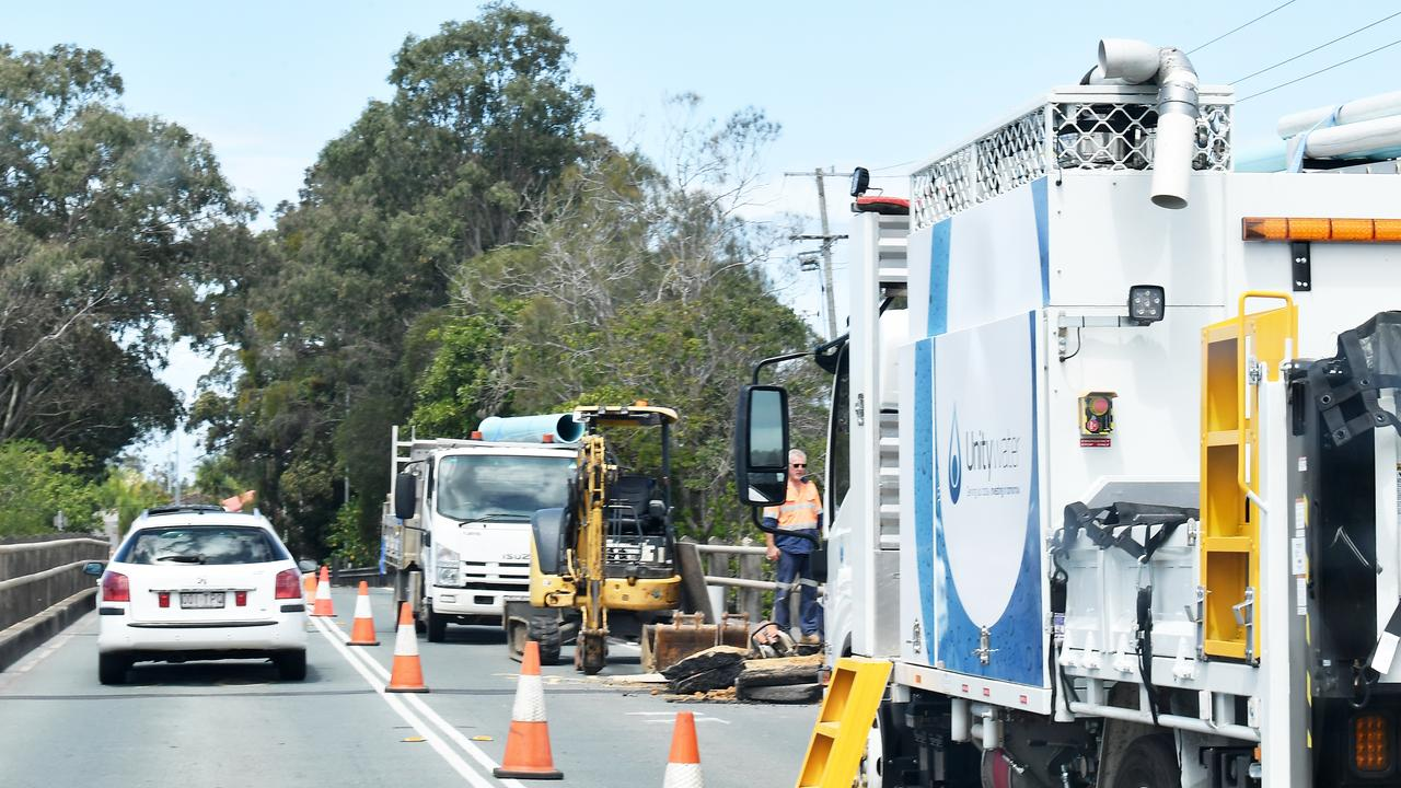 Traffic is delayed following a burst water pipe near David Low Way at Maroochydore. Photo: Patrick Woods