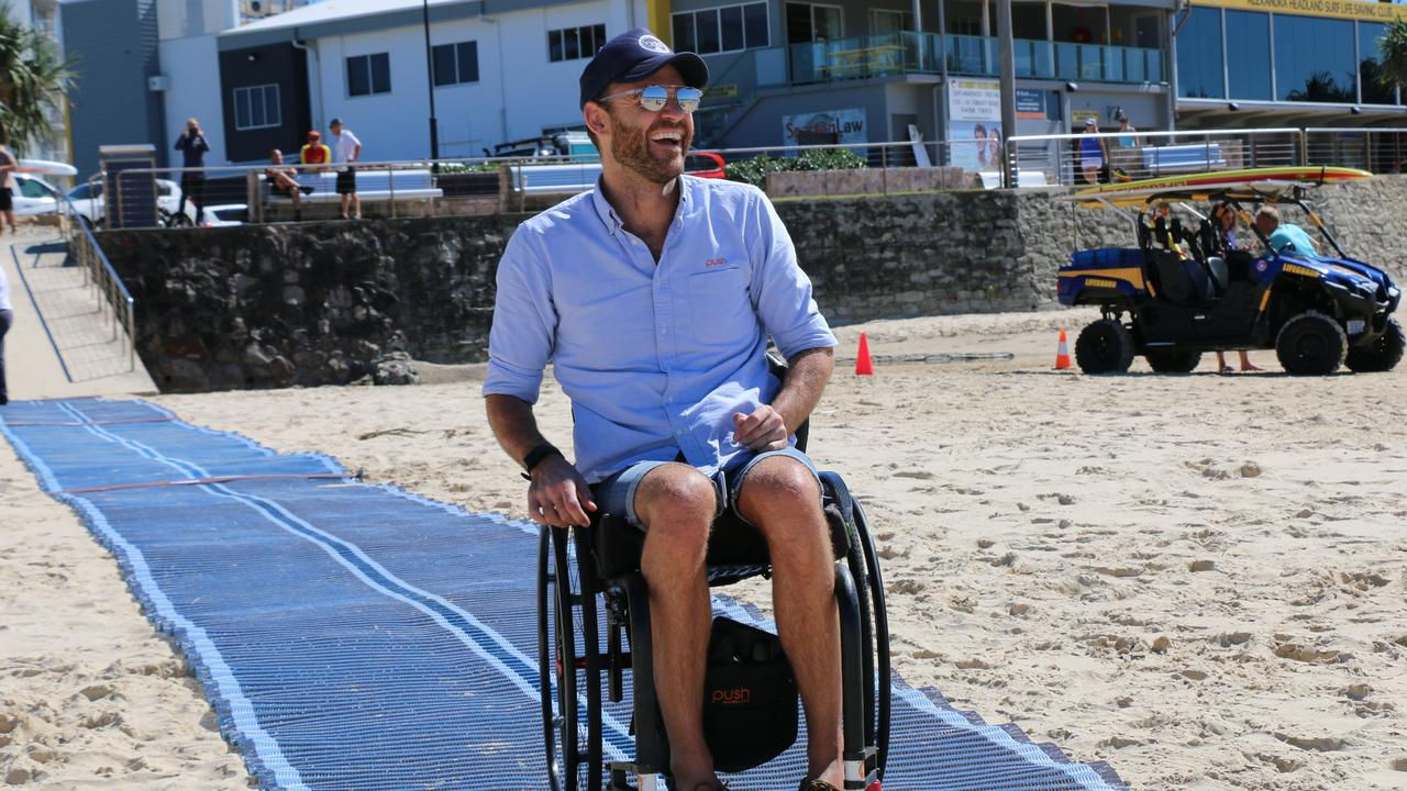 Portable ribbed plastic woven mats allow people in wheelchairs, children in prams and those who use walking frames to be able to get on to the beach.