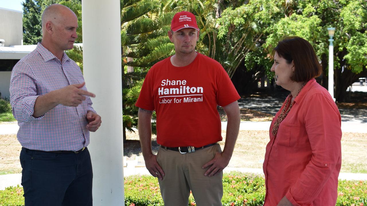 Regional Development Minister Glenn Butcher with ALP Mirani candidate Shane Hamilton and Mackay MP Julieanne Gilbert. Picture: Melanie Whiting