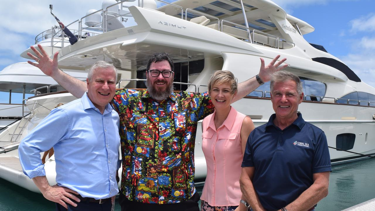 Deputy Prime Minister Michael McCormack, Federal Member for Dawson George Christensen, Whitsunday state LNP candidate Amanda Camm and Coral Sea Marina owner Paul Darrouzet at the marina. Mr Darrouzet has donated money to Ms Camm's campaign.
