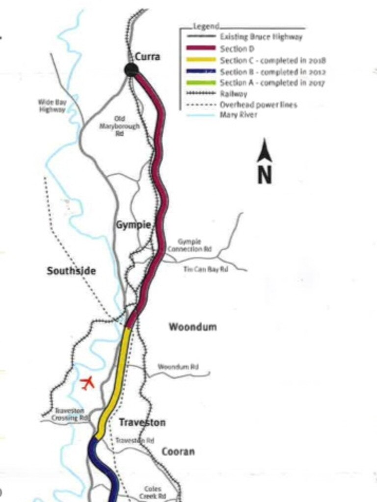 Map of full Bruce Highway and Gympie Bypass.
