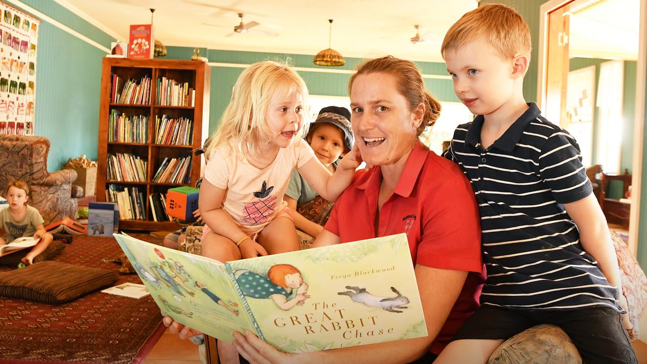 Enjoying story time at Milford Lodge are (from left) Charlize Pearce, Fletcher Boardman, licensee Molly Stewart and Angus Bell. Picture: Patrick Woods