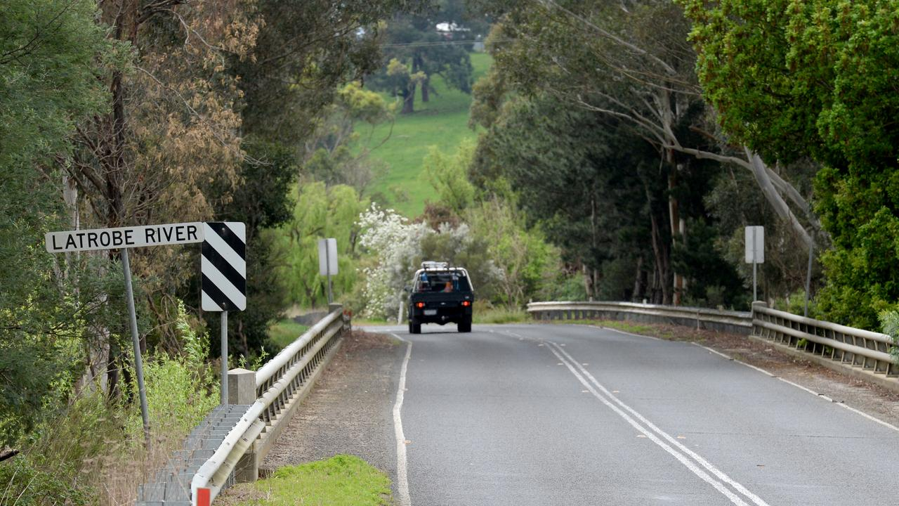 The La Trobe River bridge on Moe-Walhalla Road where Jarrad was last seen alive. Picture: NCA NewsWire / Andrew Henshaw