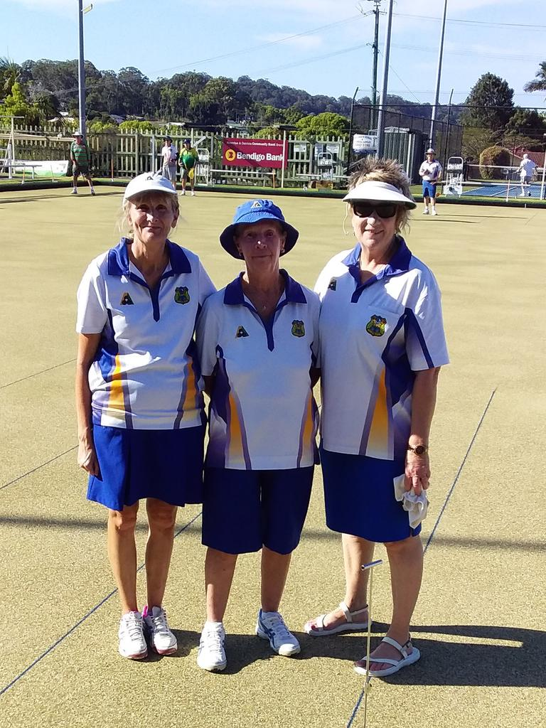 Barbara Hastie, Kerry Clapham(marker) and Julie Christian, Woombye Bowls Club's Ladies B-grade champion.