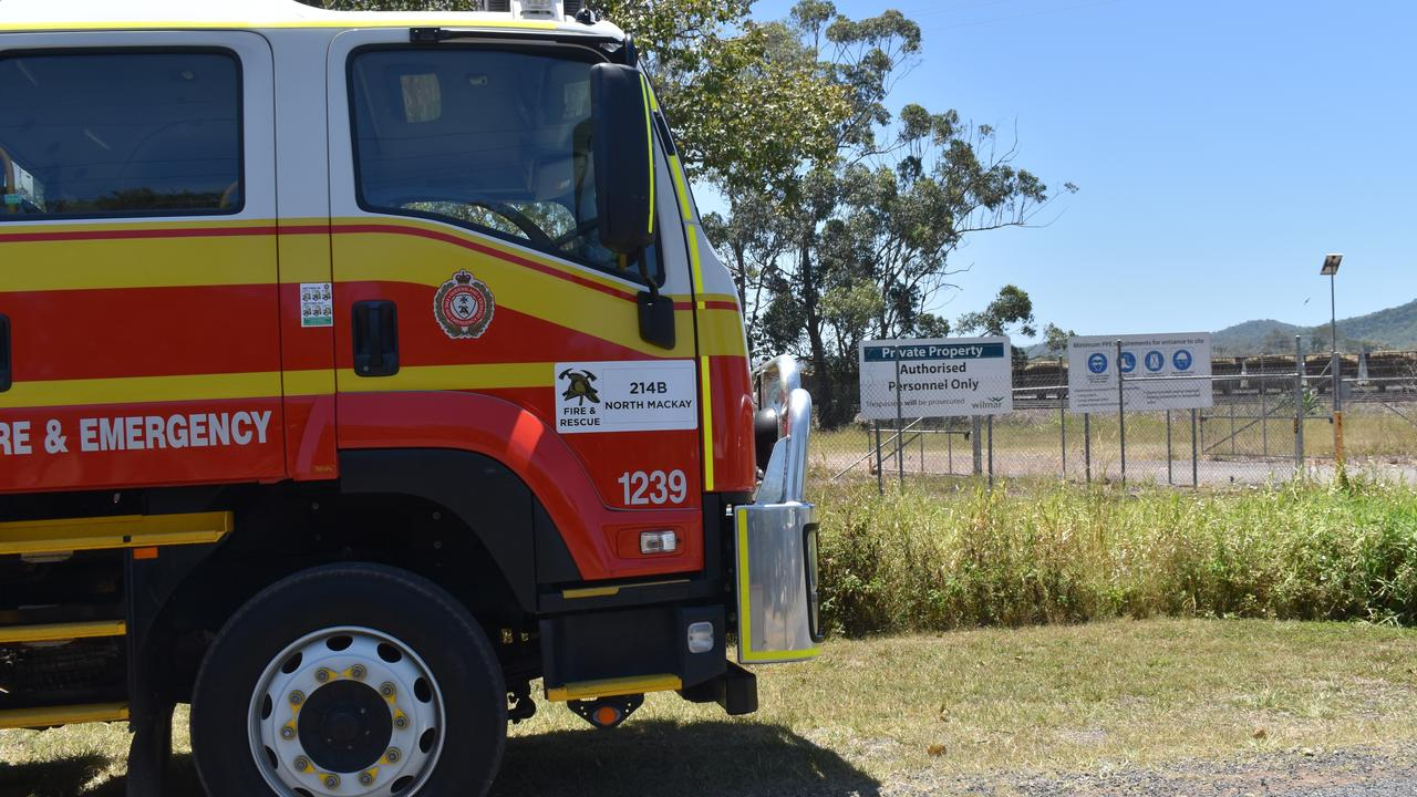 Queensland Fire and Emergency Services and Rural Fire Service crews fought to contain a fast-moving grassfire on a Wilmar Sugar property, on Monday October 19. Picture: Zizi Averill