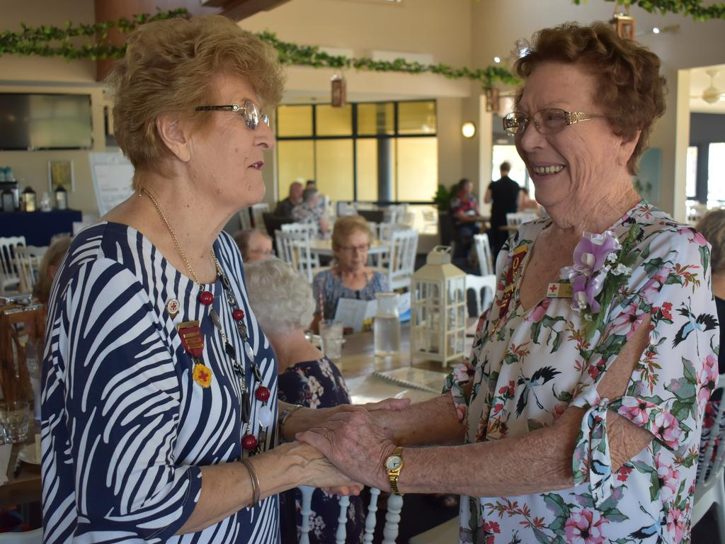Pam Pratt (right) was presented with her 50 years of service badge by President Betty Kirwan at the 50th anniversary celebration of the Red Cross Calen branch at Breakwater Bar and Restaurant. Picture: Heidi Petith