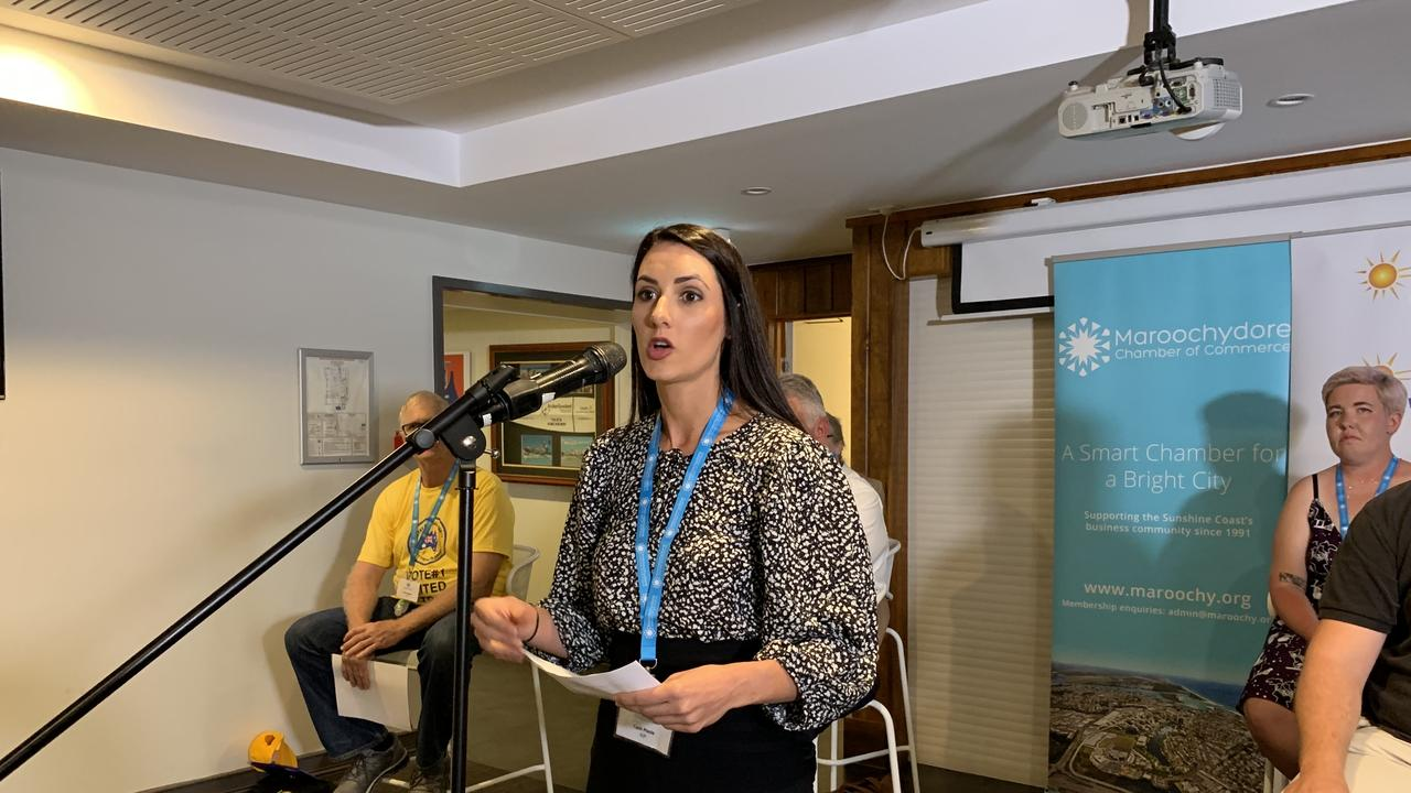 Animal Justice Party candidate Tash Poole speaks at a Maroochydore candidate forum at the Alex Surf Club.