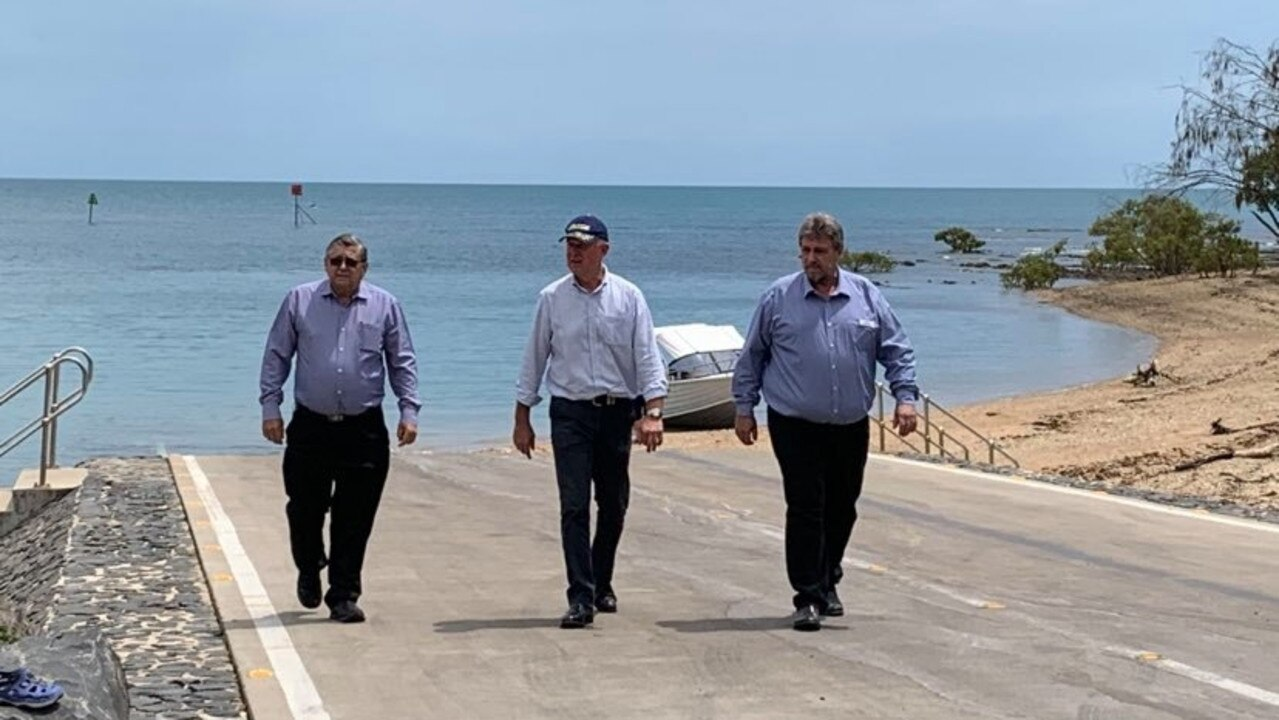 LNP candidate Steve Coleman, Shadow Minister for Fisheries Tony Perrett and member for Hervey Bay Ted Sorensen inspect the current boat ramp. Photo: Stuart Fast