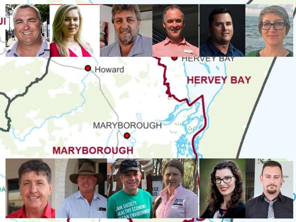 TOP ROW: Hervey Bay candidates, Damian Huxam, Amy Byrnes, Steve Coleman, Adrian Tantari, Stuart Taylor and Sonja Gerdsen.BOTTOM ROW: Maryborough candidates, Bruce Saunders, Denis Chapman, Craig Armstrong, Sharon Lohse, Samantha Packer and River Body.