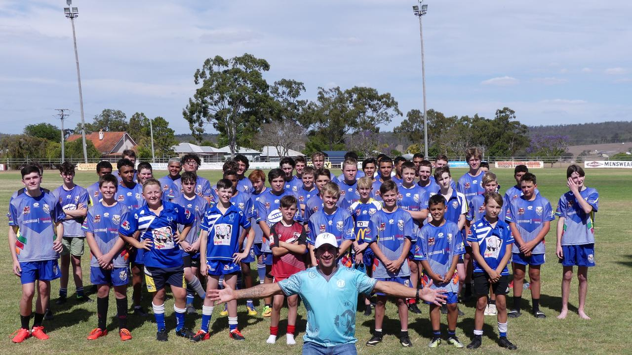 Johnathan Thurston visited the South Burnett over the weekend to share some of his top game-time tips and bring a smile to families hit hard by drought and COVID. Photo/Holly Cormack.