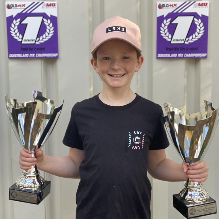 Brooke Ball, 9, was named 2020 Female Queensland State Champion in 65cc and 85cc classes.