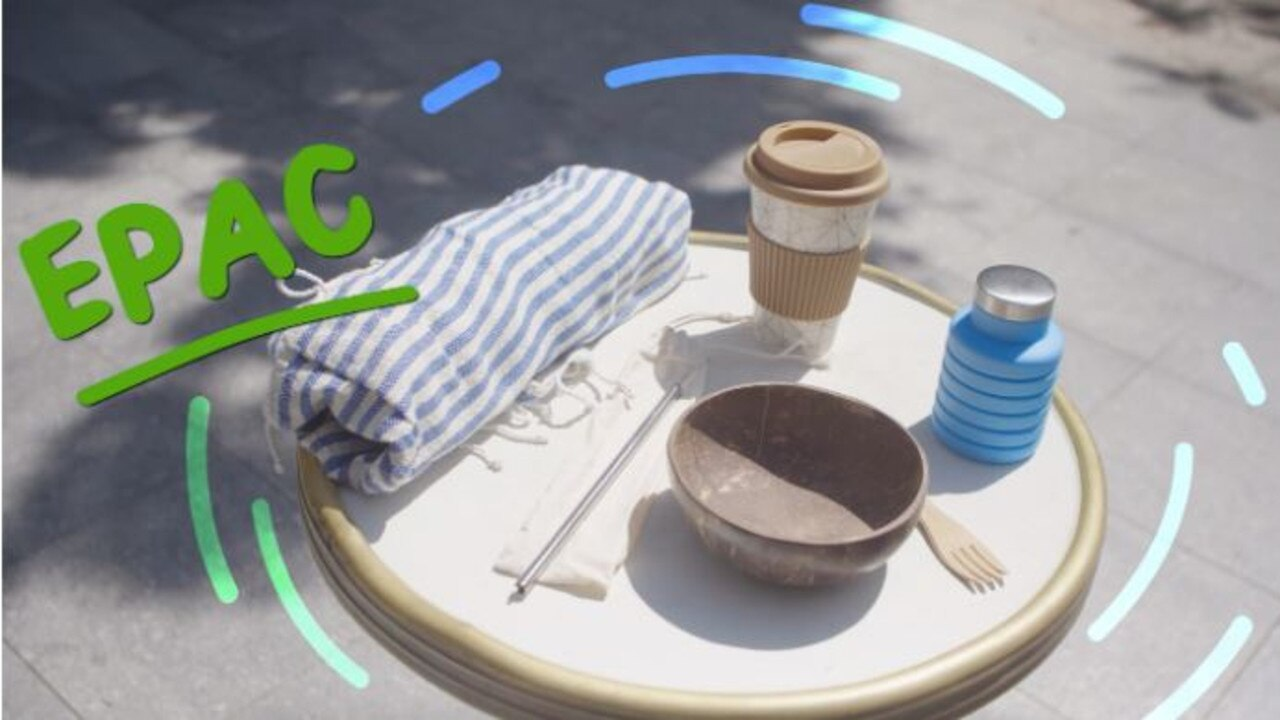 The EPAC is complete with collapsible water bottle, coconut bowl, wooden cutlery, reusable coffee cup and full-size beach towel.