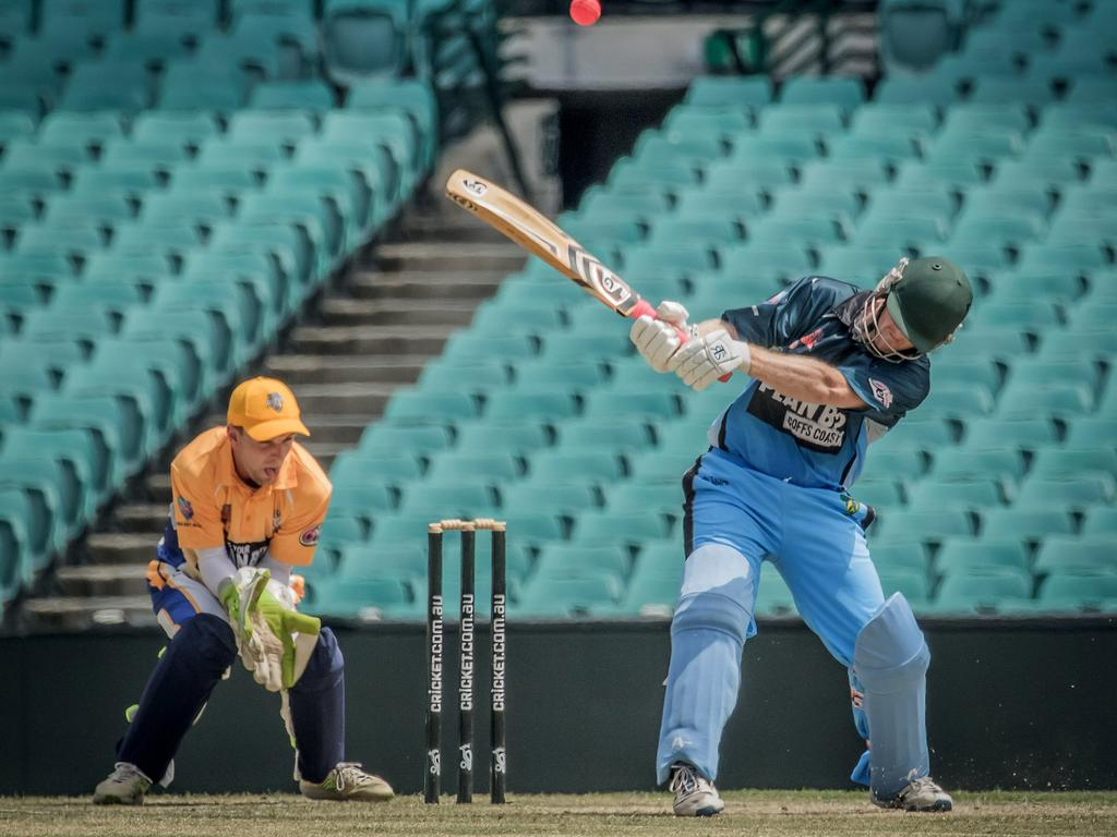 One too many reverse slogs proved opening batsman Luke Cox's downfall after hitting 43 for Coffs Coast Chargers in their 2018-19 semi-final loss to Central Coast Rush at the Sydney Cricket Ground on 6th February, 2019. Photo: Benjamin Churcher/Cricket NSW