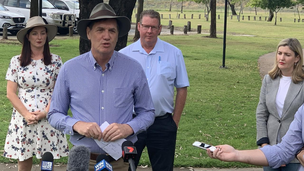 Mines Minister Anthony Lynham warned of the risks of electing a LNP government. In the background stand candidates for Keppel, Brittany Lauga, and Rockhampton, Barry O'Rourke with Small Business Minister Shannon Fentiman.